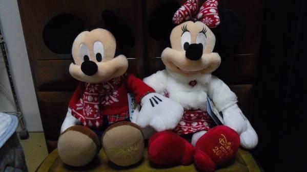 ディズニーストア2015クリスマスミッキー&ミニーぬいぐるみ ディズニーグッズの画像