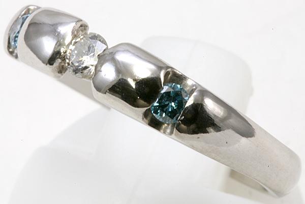 プラチナ ブルーダイヤ リング 5.3g ダイヤ【ar385】_画像2