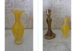 アンティーク ムラノガラス ベース花瓶花器 venini ベニーニ作家工房 イタリア ベニスムラーノ島 Murano ビタミンイエロー