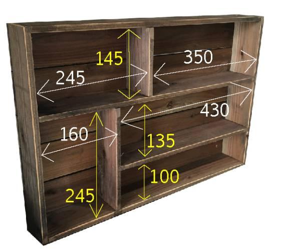 シャビーブラウンの木製スパイスラック☆レトロ 飾り棚 調味料棚_画像3
