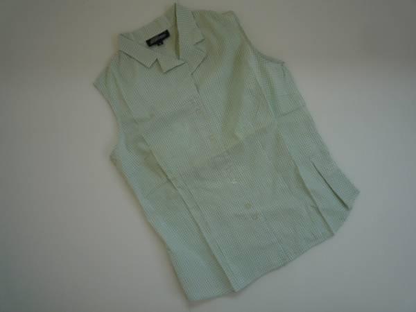 【お買い得!】 ★ SoFwave ★ ノースリーブシャツ チェック 緑系 Mサイズ (NS04L069)