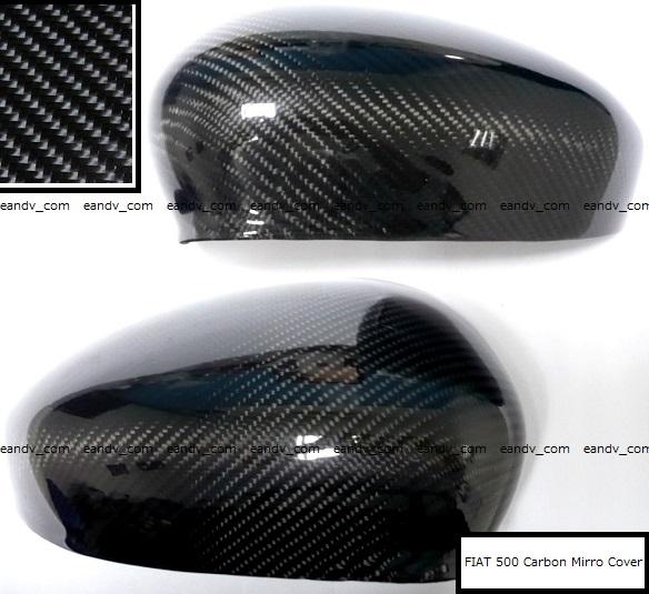 フィアット500アバルト595プント本物リアル綾織ブラック艶黒カーボン ドア サイド ミラー カバー トリム エアロ ガーニッシュ スポイラー_画像2