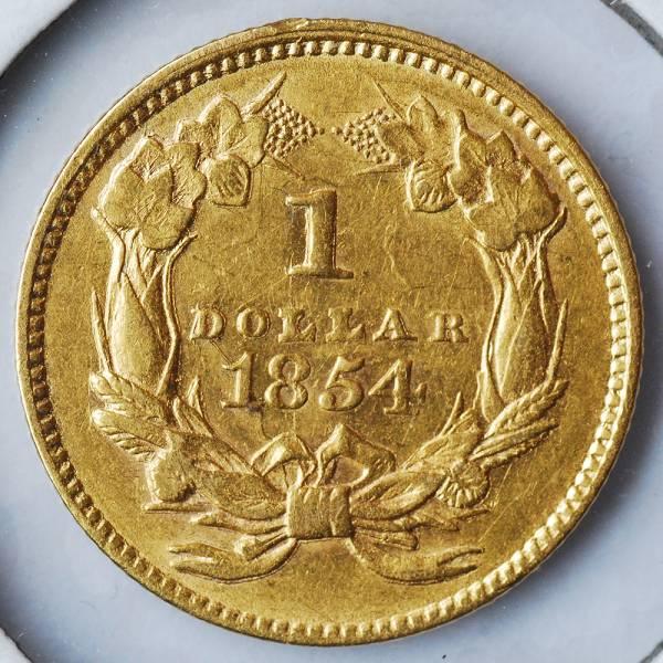 ☆未使用 アメリカ 1854年 ダブルダイ プリンセス 1ドル金貨☆_画像3