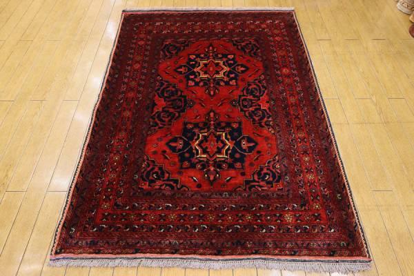 アフガニスタン 部族絨毯 カールモハンマディ オールド手織り絨毯 ボヘミアンインテリア アクセントラグ 104x144cm/GH158
