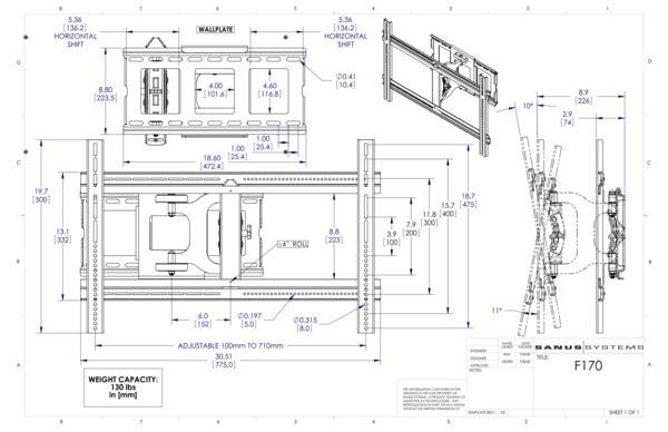 SANUS テレビ壁掛け金具 VUEPOINT F170 32-55V型用_F170_cutsheet