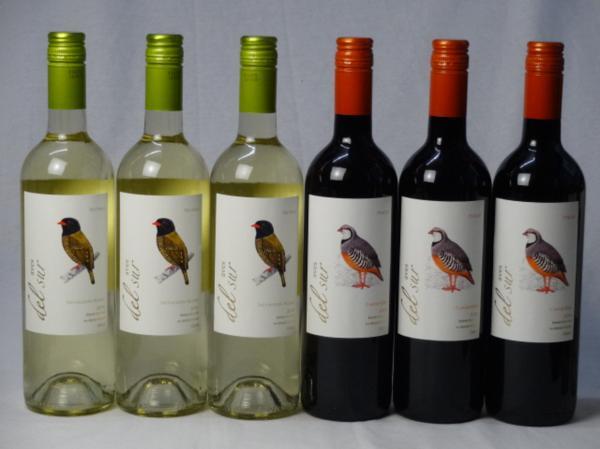 チリ白赤ワイン6本セット デル・スール カルメネール ミディ_画像1