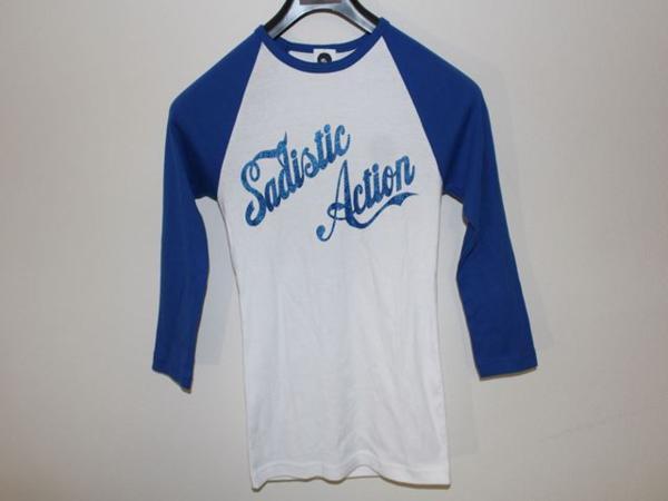 サディスティックアクション Sadistic Action レディースラグラン7分Tシャツ ホワイトxブルー Mサイズ 新品_画像1
