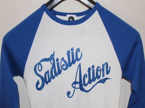 サディスティックアクション Sadistic Action レディースラグラン7分Tシャツ ホワイトxブルー Mサイズ 新品_画像2