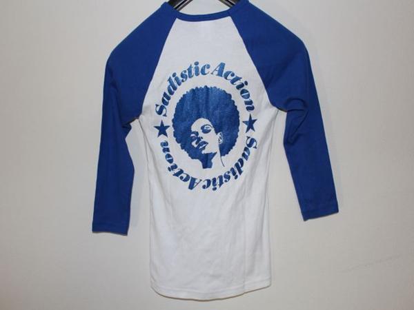 サディスティックアクション Sadistic Action レディースラグラン7分Tシャツ ホワイトxブルー Mサイズ 新品_画像3