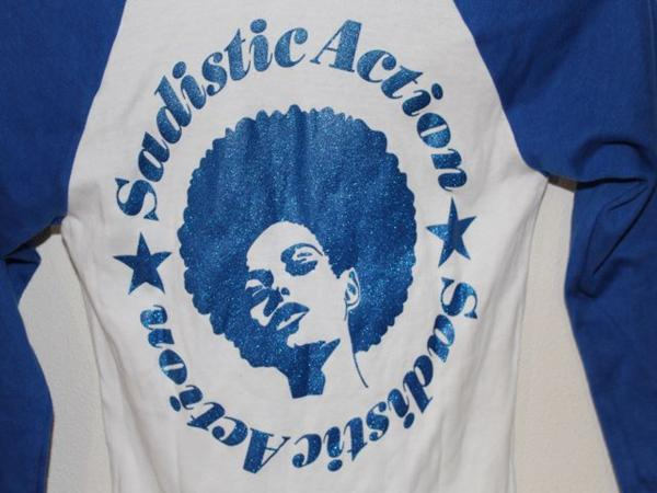 サディスティックアクション Sadistic Action レディースラグラン7分Tシャツ ホワイトxブルー Mサイズ 新品_画像4