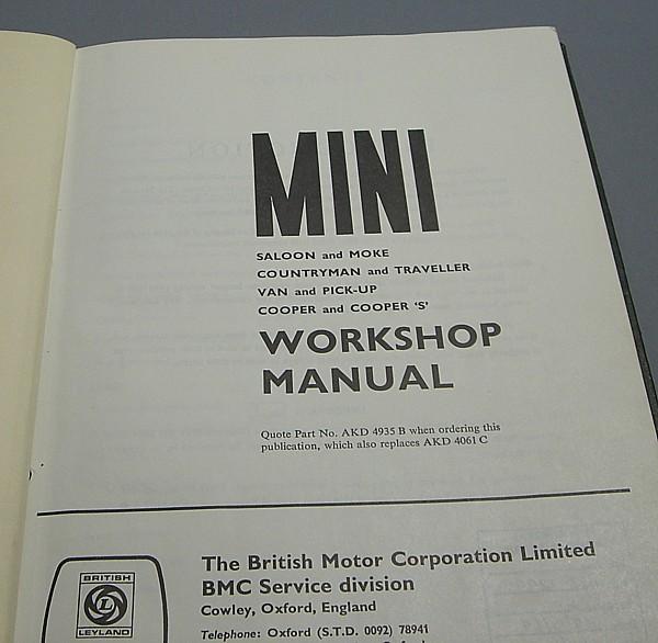 ◎〓◎BMC MINI ワークショップマニュアル 上製本 1969年版_画像1