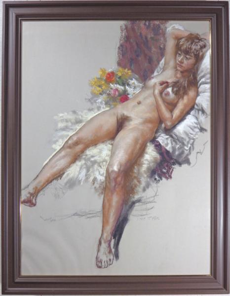 佐藤照雄●伝説のリアリズム作家●パステル20号『花のマハ』●裸婦●師:安井曽太郎