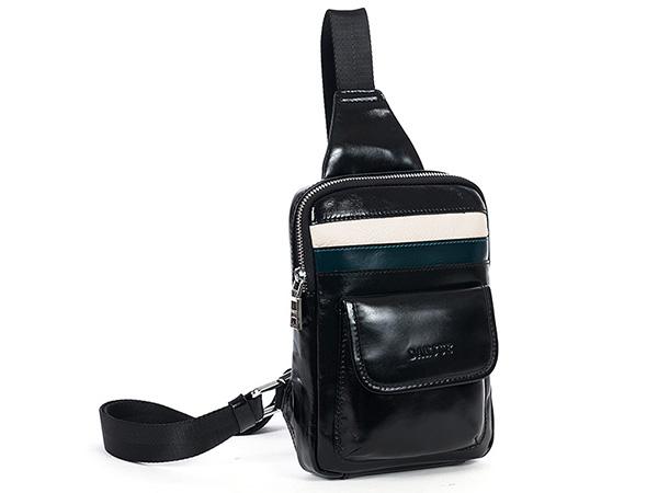 ボディバッグ 縦型 耐久性 最高光沢牛革 本革レザー メンズ ウエストバッグ ワンショルダーバッグ 斜めがけ 自転車鞄 2色選 8741-1_画像1