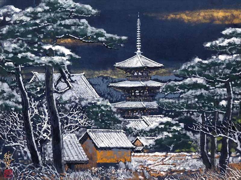 【GINZA絵画館】人気作家・後藤純男  日本画10号「雪の斑鳩」共シール・傑作!