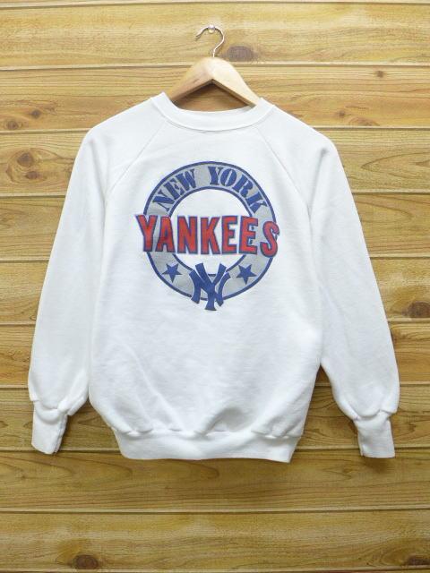 L★古着 中古 スウェット 80年代 MLB ニューヨークヤンキース USA製 白 17apr12 グッズの画像