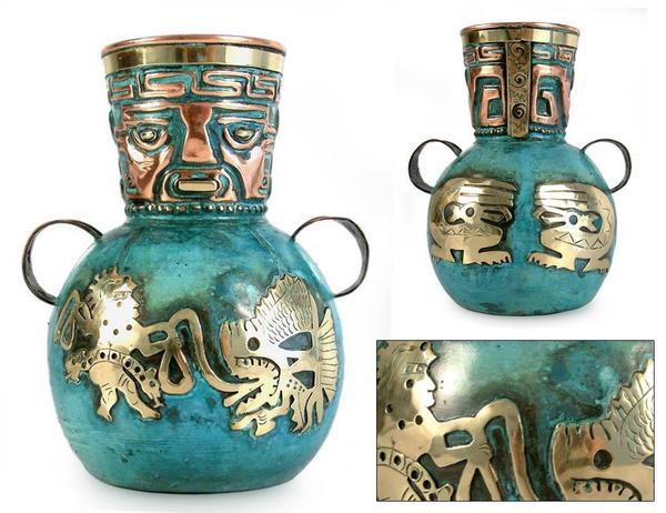 ペルー 青銅 銅 フラワー ベース インカの漁師 花器 花瓶 古代インカ帝国 マチュ ピチュ アルパカ ナスカ 地上絵 遺跡_画像1
