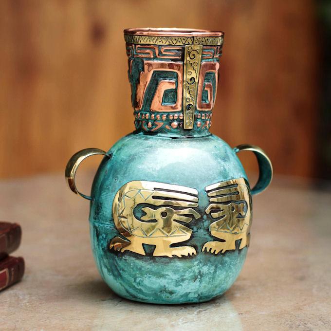 ペルー 青銅 銅 フラワー ベース インカの漁師 花器 花瓶 古代インカ帝国 マチュ ピチュ アルパカ ナスカ 地上絵 遺跡_画像3