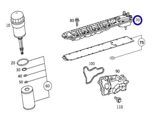 純正品 E/G エンジン オイルクーラー/ベンツ W215 CLクラス CL600 V12エンジン用 (137-188-0501)_画像3