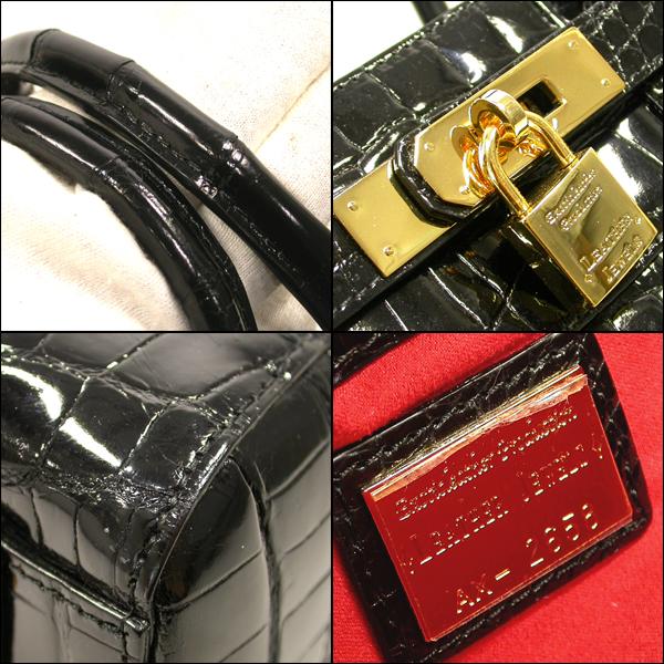 5618【BSJB】LEATHER JEWELS レザージュエルズ クロコダイル ブラック トートバッグ 極美品 本物_画像3