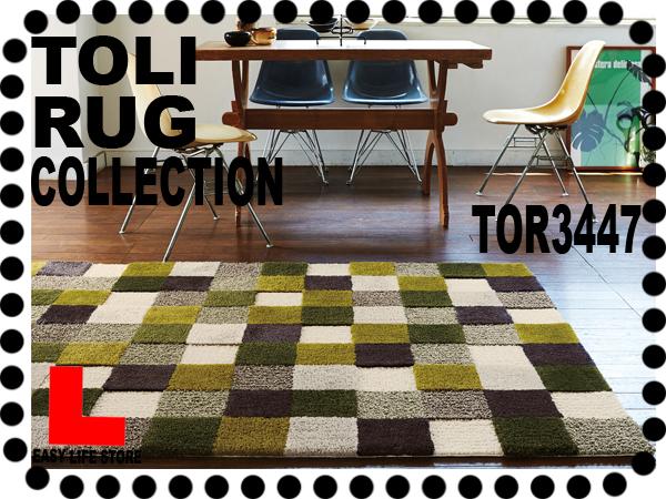 【東リラグTOR3447】140x200レトロな色グリッドラグ【送料無料】_画像1