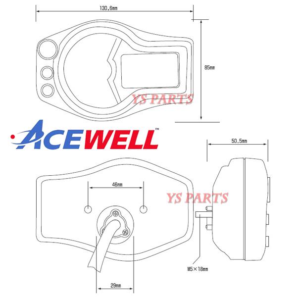 【学習機能ギアインジケーター】ACEWELL完全防水マルチメーター[12000rpm]ZXR400R/ZRX400/ZRX1100/ZRX1200/ニンジャ250R/ニンジャ400R等に_とてもコンパクトなサイズです