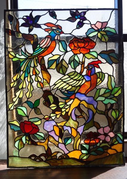大型ステンドグラス 鳳凰 極楽鳥 1008L3G※_画像1
