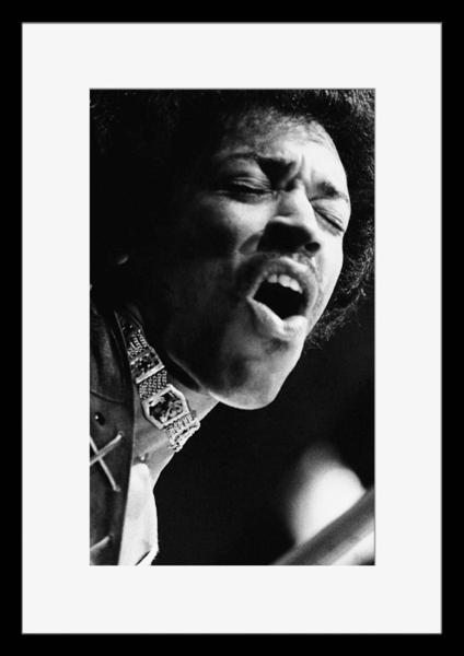 BW:人気!ザ・ジミ・ヘンドリックス・エクスペリエンス/The Jimi Hendrix Experience/モノクロ写真フレーム-1