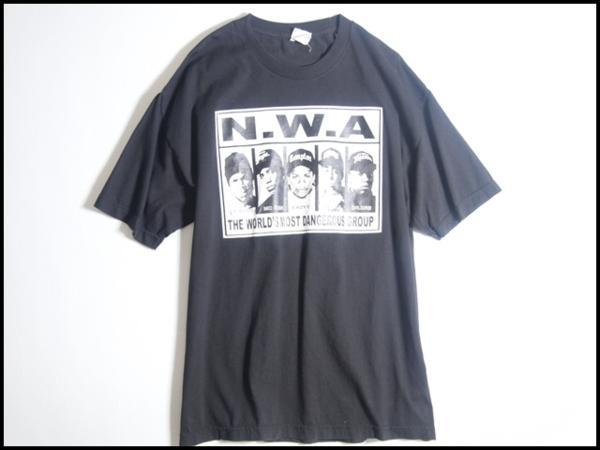A2333f16 ■エヌ・ダブリュー・エー N.W.A■ Tシャツ World's Most Dangerous Group T-Shirt 黒 XL 春夏 rb