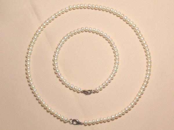 517wこんな美しいベビー真珠ホワイトパールネックブレスセット_画像1