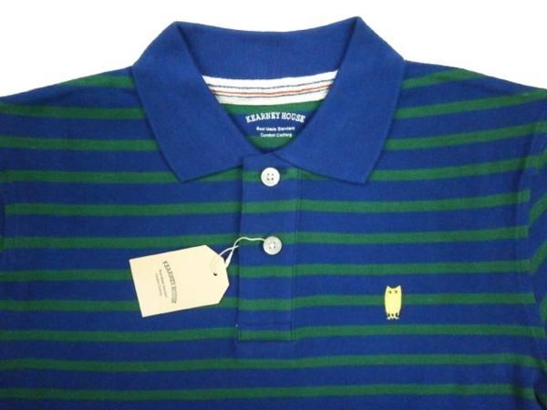 KEARNEY HOUSE 「フクロウ」 ボーダー・半袖ポロシャツ 緑M新品_画像2