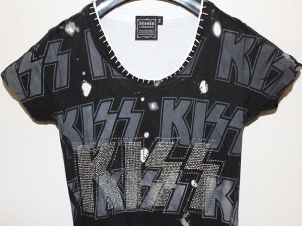 サディスティック アクション SADISTIC ACTION ICONIC アイコニック レディース半袖Tシャツ KISS Sサイズ 新品_画像3