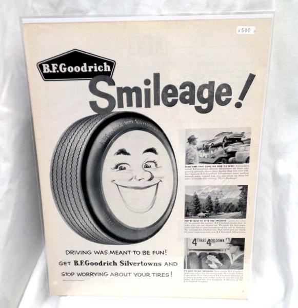 希少!LIFE誌切り抜き★B.FGoodrich Tyre タイヤの広告 1950年代★ビンテージ雑誌ライフ切抜き
