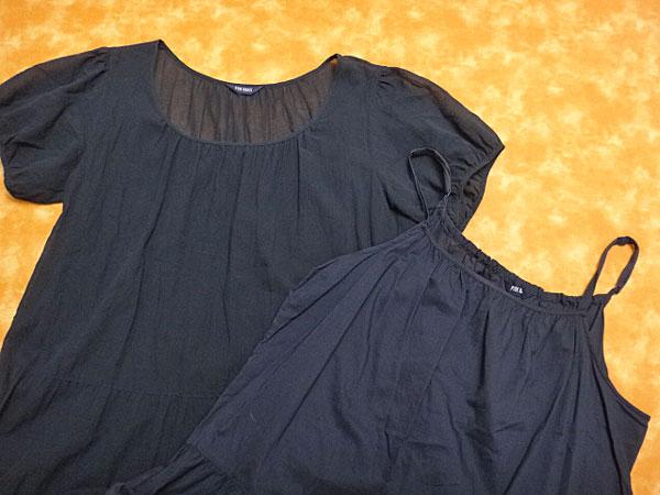 ★070570【ピンクハウス】フリルアンダードレス付きコットン100%半袖ロングワンピース★紺★PINK HOUSE_画像4