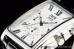1円 ホワイト&ブラック 角型 ローマ数字インデックス 上級 クロノグラフ 本革ベルト 腕時計