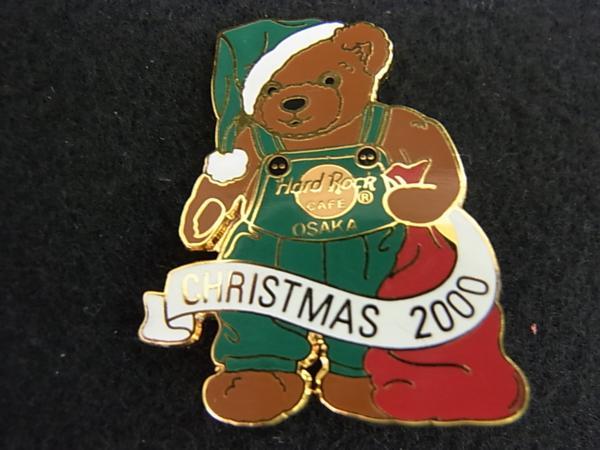 【ハードロックカフェ】ピンバッジ○大阪 クリスマス2000 くま