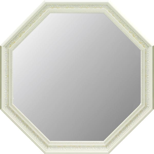 アンティーク 大型八角ミラー(ホワイト)_画像1