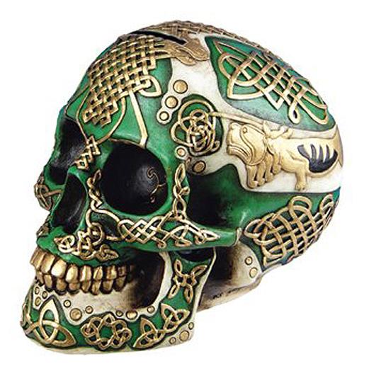ケルティック ライオン スカル(頭蓋骨) バンク 彫刻 彫像/ Figurine Celtic Lion Skull Bank Hand Painted Resin 6411 by DLEG(輸入品_画像1