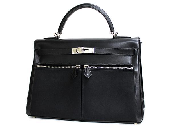 【中古】 エルメス ケリーラキ32 ブラック ボックスカーフ×トワルオフィシェ 32cm 内縫い シルバー金具 ハンドバッグ レディース □I刻印