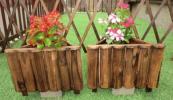 三角形タイプ2個セット!ベランダや玄関に♪木製植木鉢(焼き杉)プランター 縦30cm×横30cm×高さ23cm