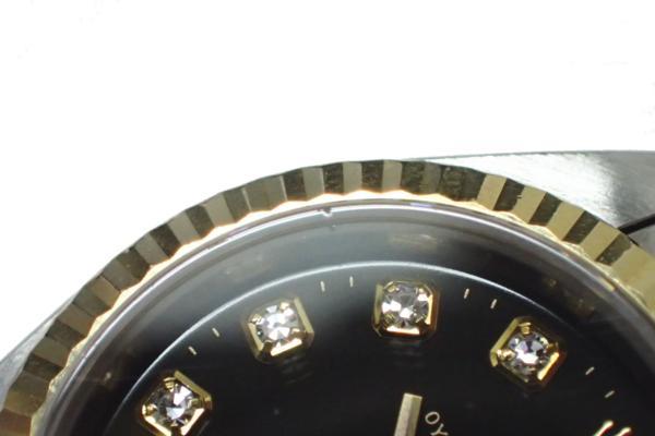 1円 【ROLEX】 ロレックス SS×K18YGコンビ デイトジャスト [Ref.69173G] U番 10P新ダイヤ ブラック文字盤 レディース腕時計 自動巻 ◆美品_画像6