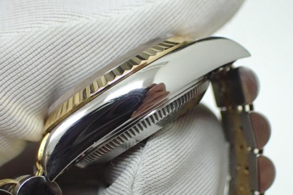 1円 【ROLEX】 ロレックス SS×K18YGコンビ デイトジャスト [Ref.69173G] U番 10P新ダイヤ ブラック文字盤 レディース腕時計 自動巻 ◆美品_画像3