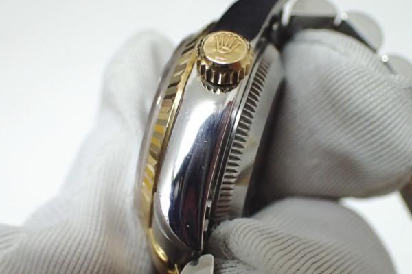 1円 【ROLEX】 ロレックス SS×K18YGコンビ デイトジャスト [Ref.69173G] U番 10P新ダイヤ ブラック文字盤 レディース腕時計 自動巻 ◆美品_画像4