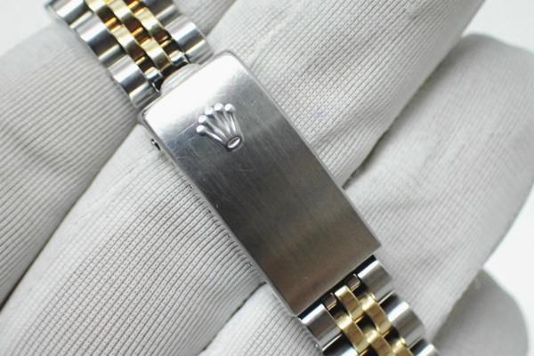 1円 【ROLEX】 ロレックス SS×K18YGコンビ デイトジャスト [Ref.69173G] U番 10P新ダイヤ ブラック文字盤 レディース腕時計 自動巻 ◆美品_画像10