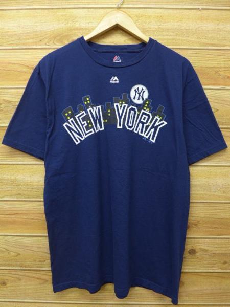 XL★古着 Tシャツ MLB ニューヨークヤンキース 紺 ネイビー 中古 メンズ 半袖 グッズの画像