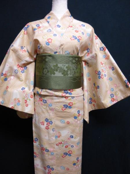 ☆オリジナル製レトロ木綿着物(ゆかた)+帯セット現品限り⑯_画像3