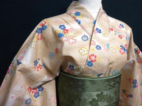 ☆オリジナル製レトロ木綿着物(ゆかた)+帯セット現品限り⑯_画像4