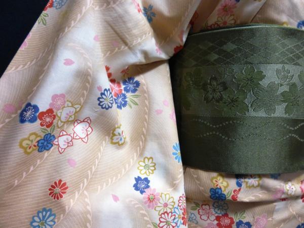 ☆オリジナル製レトロ木綿着物(ゆかた)+帯セット現品限り⑯_画像6