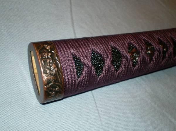柄 紫綿糸 黒本鮫 柄下地木製 居合刀用 龍デザイン_画像1