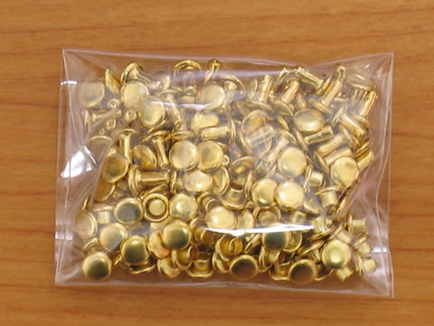 カシメ特小両面足並 真鍮キリンス 頭4.6mm足6mm 100個 ゴールド_画像2