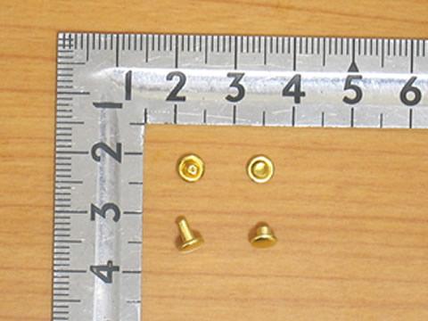 カシメ特小両面足並 真鍮キリンス 頭4.6mm足6mm 100個 ゴールド_画像1